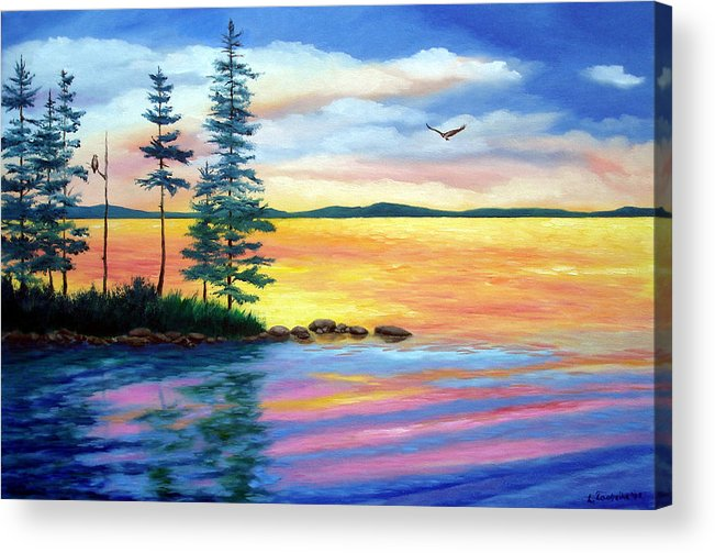 Maine Acrylic Print featuring the painting Maine Evening Song by Laura Tasheiko