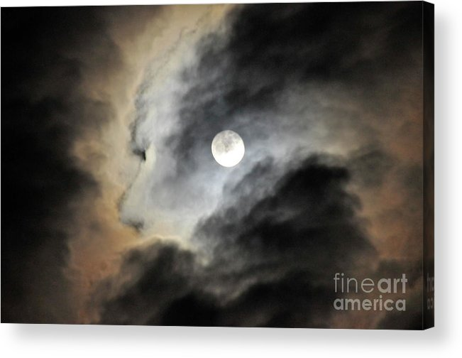 Landscape Photographs Acrylic Print featuring the photograph Man And Moon by Cindy Lee Longhini