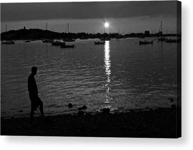 Black And White Acrylic Print featuring the photograph Man At Sunset by Gene Sizemore