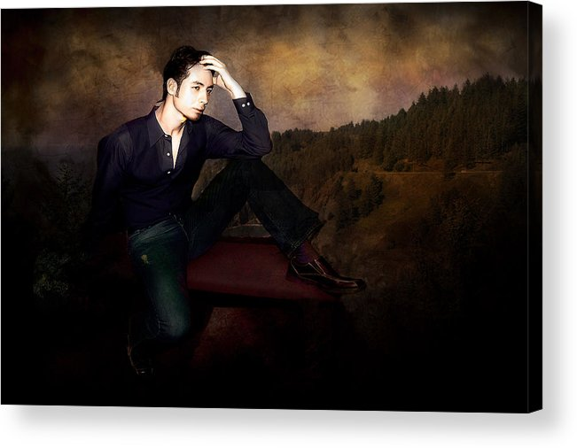 Men Acrylic Print featuring the photograph Man On A Bench by Jeff Burgess