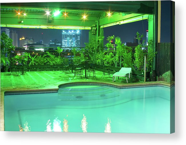 Insogna Acrylic Print featuring the photograph Mango Park Hotel Roof Top Pool by James BO Insogna