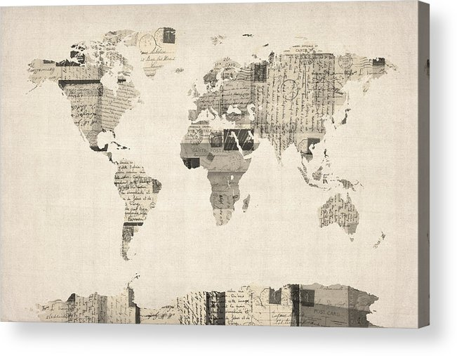 World Map Acrylic Print featuring the digital art Map Of The World Map From Old Postcards by Michael Tompsett