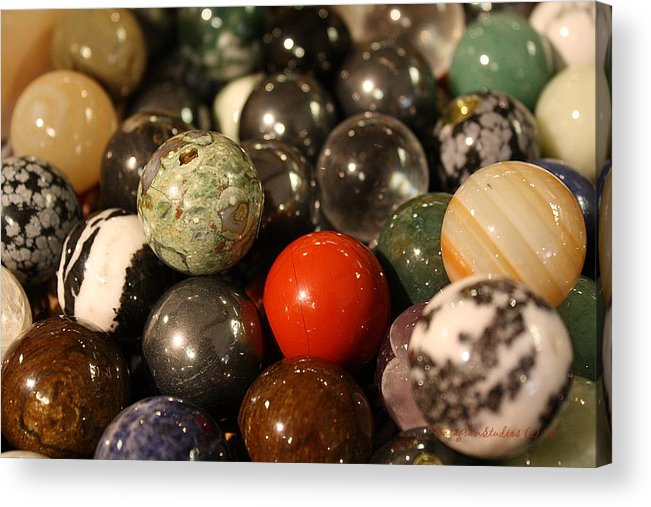 Red Acrylic Print featuring the photograph Marbles by KatagramStudios Photography