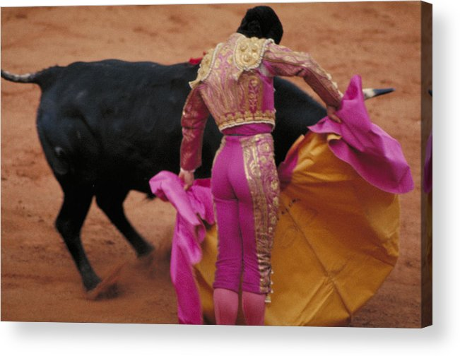 Fight Acrylic Print featuring the photograph Matador And Bull by Carl Purcell
