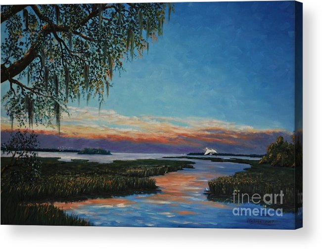 Sunset Acrylic Print featuring the painting May River Sunset by Stanton Allaben