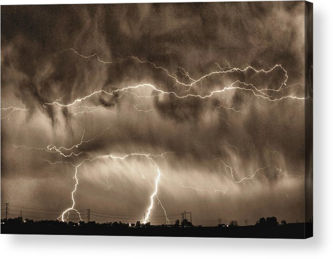 May Showers - Lightning Thunderstorm Sepia Hdr Acrylic Print by ...