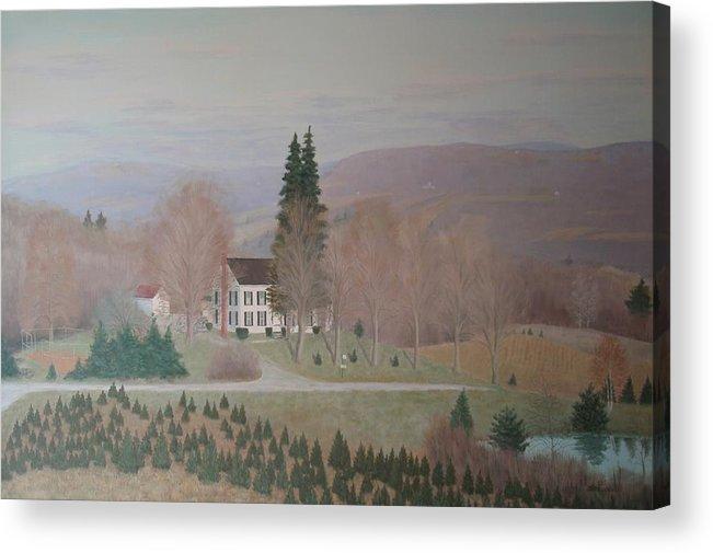 Old Federal Farm House Acrylic Print featuring the painting Mccarty Farm House by Joseph Stevenson