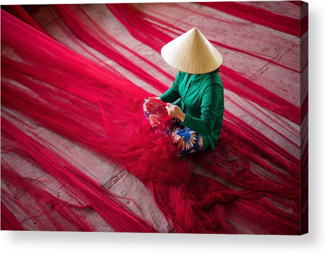 People Acrylic Print featuring the photograph Mending The Nets by Son Truong