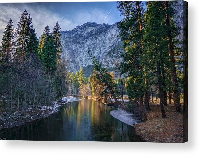Reflections On The Merced River Acrylic Print featuring the photograph Merced Reflection by David Dedman