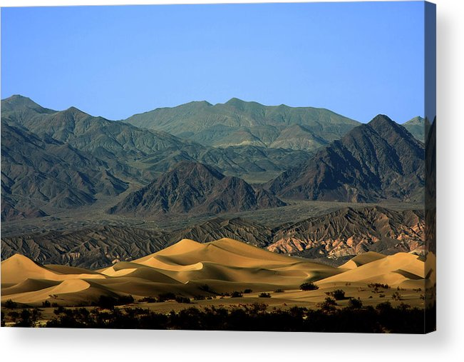 Death Valley National Park Acrylic Print featuring the photograph Mesquite Flat Sand Dunes - Death Valley National Park Ca Usa by Christine Till