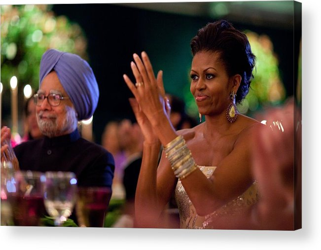 History Acrylic Print featuring the photograph Michelle Obama Applauds by Everett