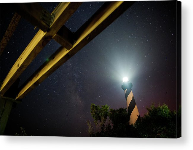 Hatteras Acrylic Print featuring the photograph Milky Way Inside Hatteras Light Pavillon by Daniel Lowe
