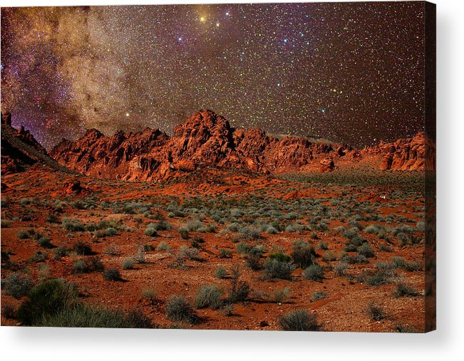 Desert Acrylic Print featuring the photograph Milky Way Rising Over The Valley Of Fire by Charles Warren