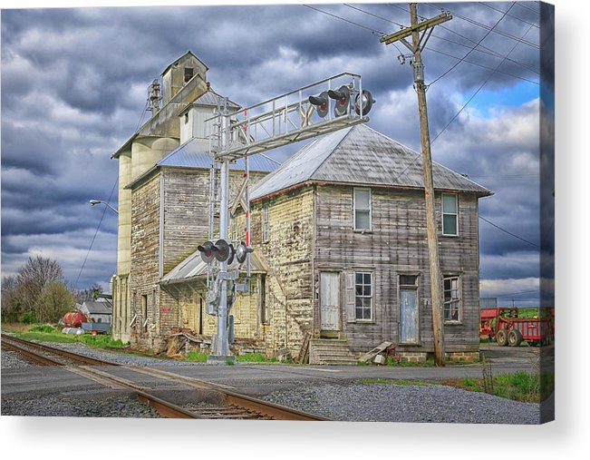 This Historic Mill Is Located On Reid Road And West Of The Western Maryland Rail Road. Acrylic Print featuring the photograph Mill On Reid Road by Pat Goodwin
