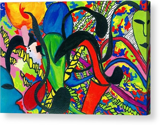 Abstract Acrylic Print featuring the painting Mindwars by Katina Cote