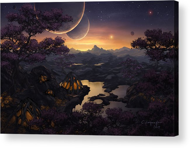Fantasy Acrylic Print featuring the digital art Mirror Lakes by Cassiopeia Art