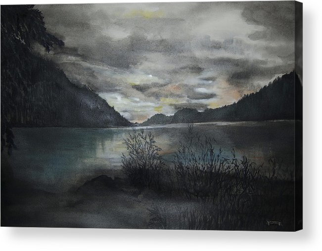 Sunset Acrylic Print featuring the painting Missezula Lake Sunset by Susan Moore