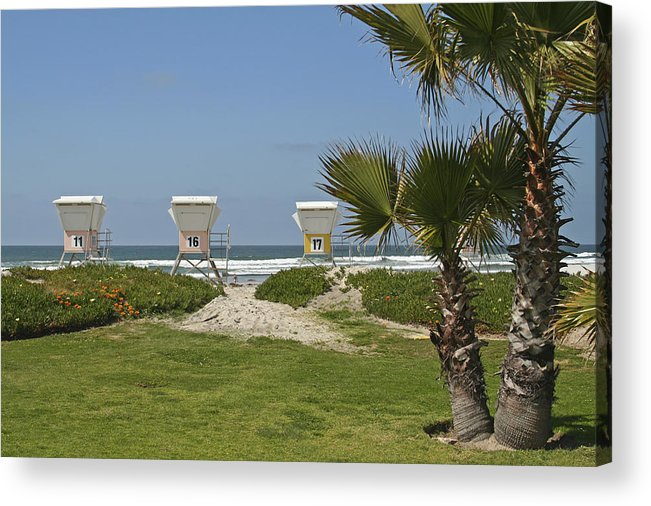 Beach Acrylic Print featuring the photograph Mission Beach Shelters by Margie Wildblood