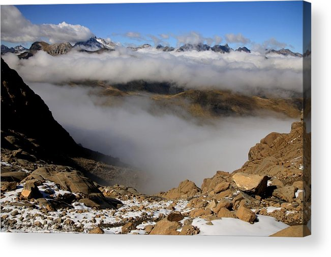 Pyrenees France Mountain Clouds Snow Ardiden National Park Stones Hiking Climbing Acrylic Print featuring the photograph Mist On Ardiden Range by Frederic Vigne