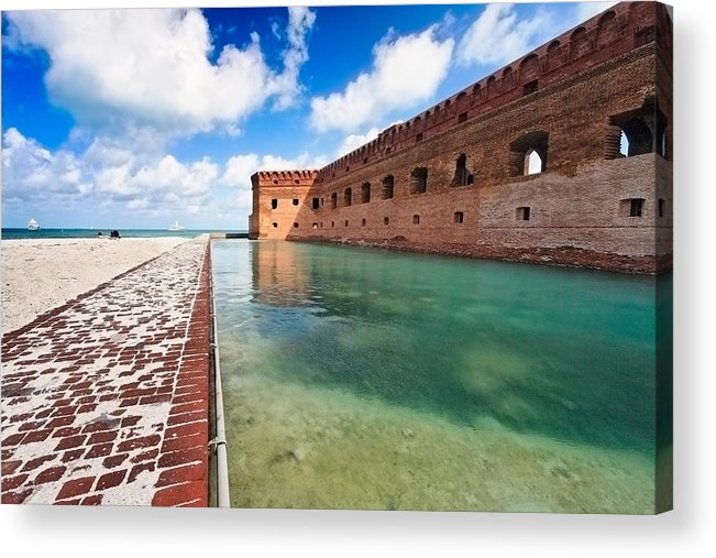 Brick Fort Acrylic Print featuring the photograph Moat And Walls Of Fort Jefferson by George Oze