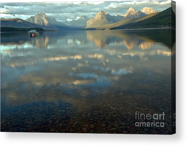 Lake Mcdonald Acrylic Print featuring the photograph Montana Lonely Boat by Adam Jewell