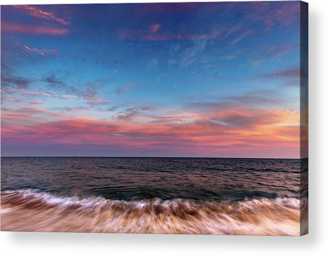 Montauk Acrylic Print featuring the photograph Montauk Pink Surf by Chris Leary