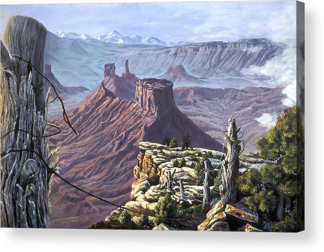 Landscape Acrylic Print featuring the painting Morning Boundaries by Page Holland