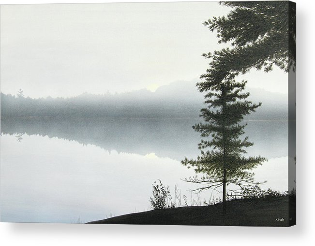 Landscapes Acrylic Print featuring the painting Morning Fog by Kenneth M Kirsch