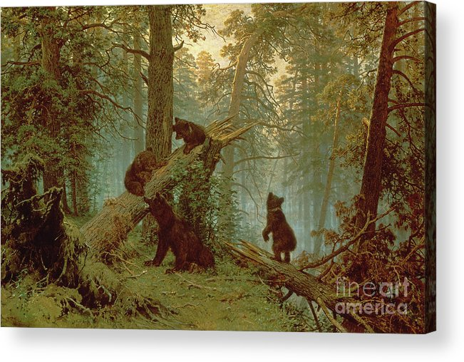 Morning Acrylic Print featuring the painting Morning In A Pine Forest by Ivan Ivanovich Shishkin