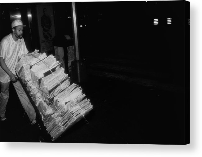 Dave Beckerman Acrylic Print featuring the photograph Morning Newspaper Delivery by Dave Beckerman