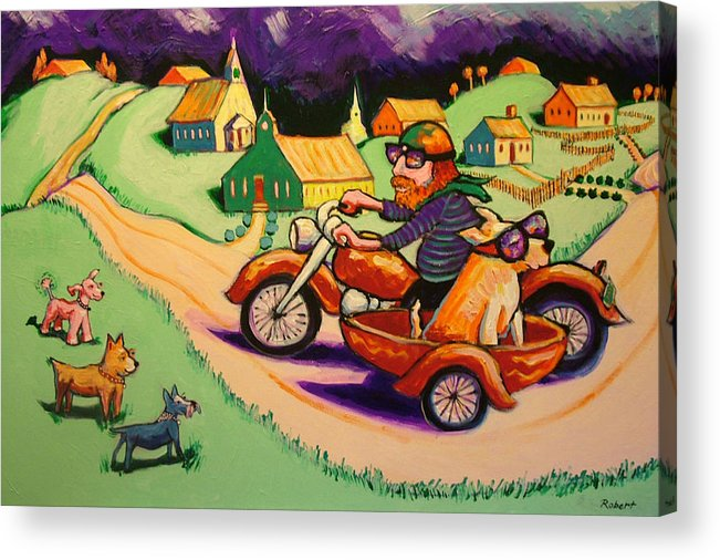 Acrylic Print featuring the painting Motocycle Mike by Robert Tarr