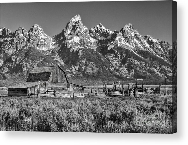 Grand Teton Acrylic Print featuring the photograph Moulton Cabin - Grand Tetons II by Sandra Bronstein