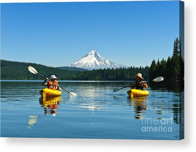 Activity Acrylic Print featuring the photograph Mount Hood Kayakers by Greg Vaughn - Printscapes