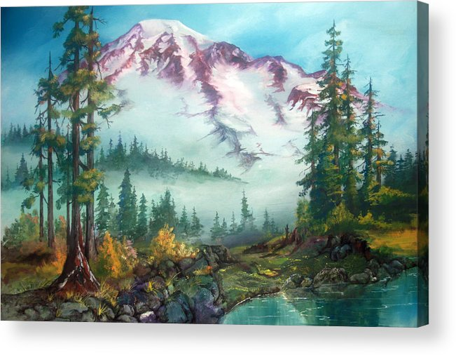 Mountains Acrylic Print featuring the painting Mount Rainier by Sherry Shipley