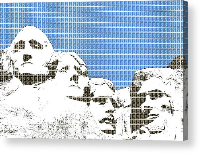 Rushmore Acrylic Print featuring the digital art Mount Rushmore - Blue by Gary Hogben