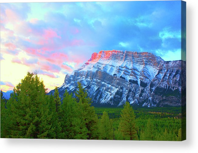 Maontain Acrylic Print featuring the photograph Mountain At Dawn by Paul Kloschinsky