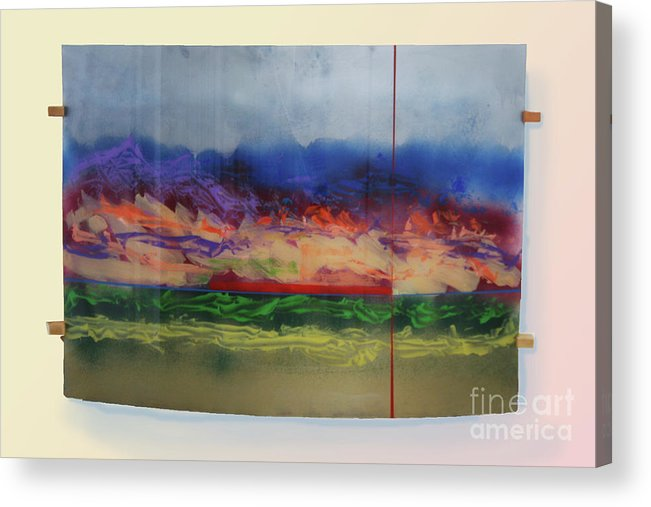 Landscape Acrylic Print featuring the painting Mountain Crossing by Mordecai Colodner