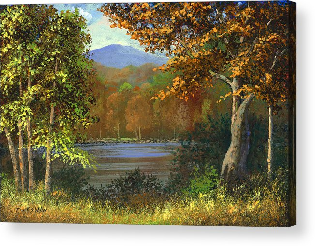 Landscape Acrylic Print featuring the painting Mountain Pond by Frank Wilson