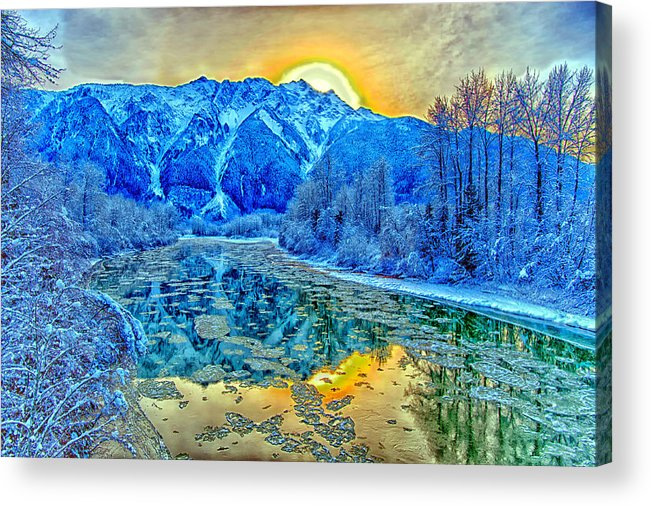Mountain River Sunset Reflection Acrylic Print featuring the photograph Mt Currie Fantasy by Dave Steers