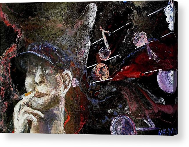 Acrylic Print featuring the painting Musician by Evguenia Men