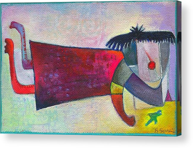 Girl Acrylic Print featuring the painting My Birdie And Me by Ricky Sencion