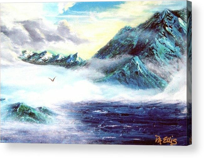 Mountains Acrylic Print featuring the painting Mystic Morning by Pam Ellis