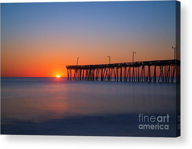 Nags Head Fishing Pier Acrylic Print featuring the photograph Nags Head Fishing Pier Sunrise by Michael Ver Sprill