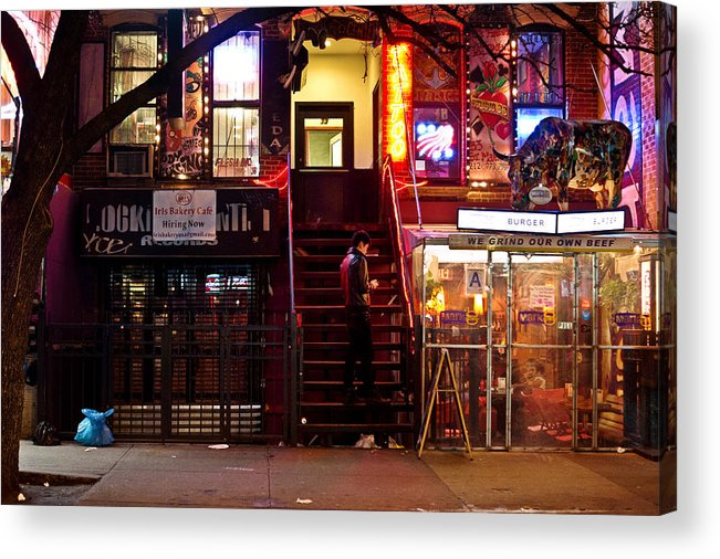 Nyc Acrylic Print featuring the photograph Neon Lights - New York City At Night by Vivienne Gucwa