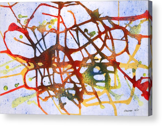 Abstract Acrylic Print featuring the painting Neuron by Mordecai Colodner