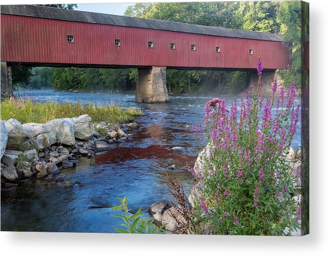 Summer Acrylic Print featuring the photograph New England Covered Bridge Connecticut by Bill Wakeley
