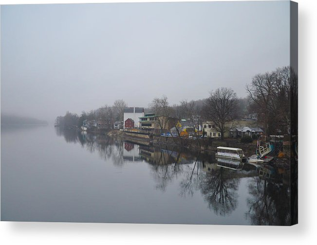 New Acrylic Print featuring the photograph New Hope River View On A Misty Day by Bill Cannon