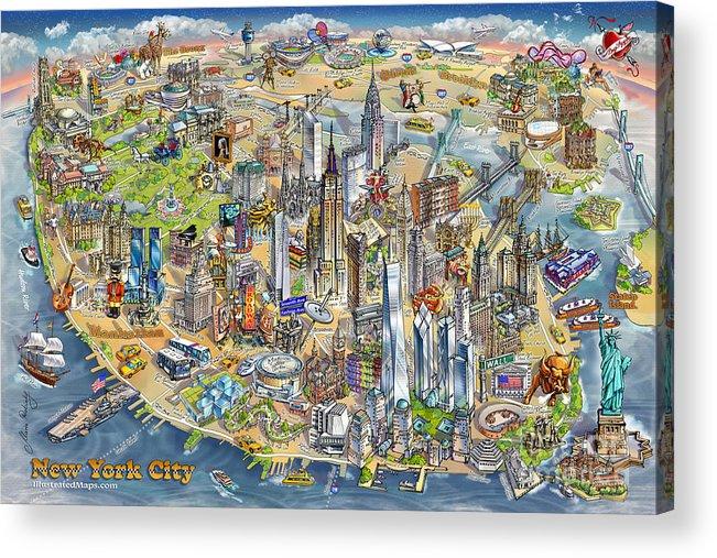 Cartoon Map Of New York City.New York City Illustrated Map Acrylic Print By Maria Rabinky