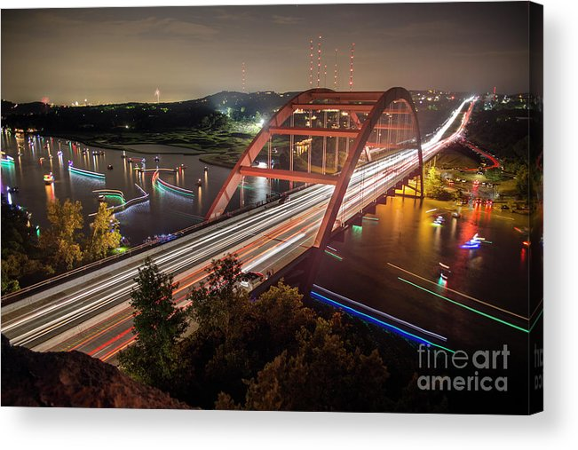 Loop 360 Boat Ramp Park Acrylic Print featuring the photograph Nighttime Boats Cruise Up And Down The Loop 360 Bridge, A Boaters Paradise With Activities That Include Boating, Fishing, Swimming And Picnicking - Stock Image by Austin Bat Tours