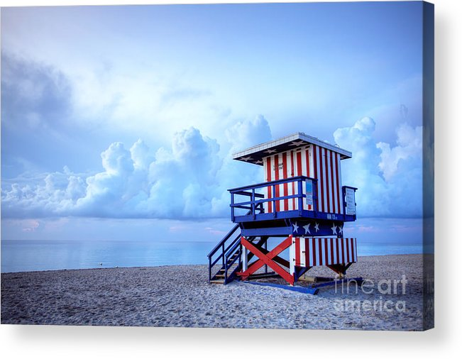 Miami Acrylic Print featuring the photograph No Lifeguard On Duty by Martin Williams